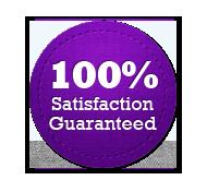 Satisfaction Guarantee 100% - Circle Badge Purple