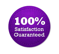 Satisfaction Guarantee 100% - Circle Badge Purple